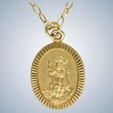 9K Gold St. Christopher Pendant Necklace