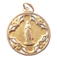 French Virgin Mary Gold Filled 'FIX' Medal Pendant