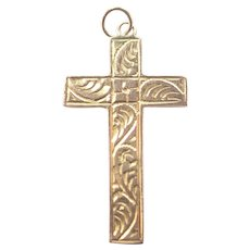 English Antique 9K Cross Pendant