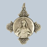 French Circa 1910-1920 Silver Plated Jesus and Olive Sprigs Medal