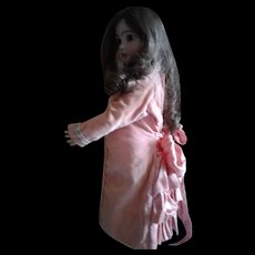 Vintage Pink Cotton Velvet Silk Ruffle Doll Dress