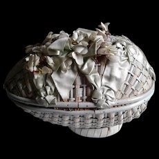 Antique Easter Millinery Basket with French Mignonette