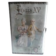 Antique Louis XV Children Lithograph Box with Vintage Dolls Inside