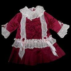 Antique Style Burgundy Silk Doll Dress