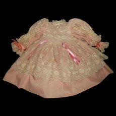 Antique Style Pink with Cream Over Lace Vintage Doll Dress