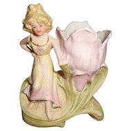 Art Nouveau Miniature Lady Figural Vase