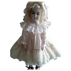 Very Ruffly Lace with Rosettes Pinafore Doll Dress