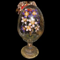 House of Faberge Imperial Glass Egg Enamel Flowers with Pearls by Franklin Mint