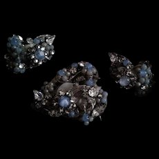 Robert's Original Blue Opaline with Cluster Crystal & Faux Pearl Demi-Parure