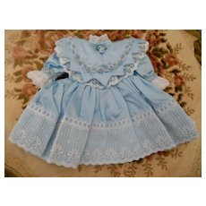 Artist Silky Blue Doll Dress with Lace and Cut Work Collar