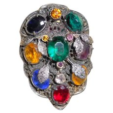 1920's Multi-Color Glass Gem Dress Clip