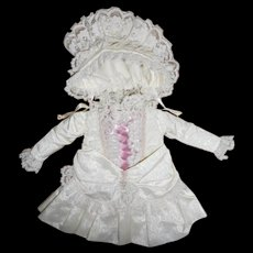 Artist Antique Style White Taffeta Pink Ribboned Doll Dress with Bonnet