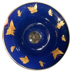 Lovely Harrach Etched Intaglio Golden Butterfly Motif Blue Glass Bowl