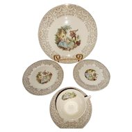 Vintage Limoges 22 kt China D'or Dinner Setting - 5 pieces