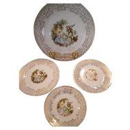 Vintage Limoges 22 kt China D'or Plate Set - 4 pieces