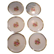 Vintage Cock Royal China Romantic Scence Dessert Plates - set of 6