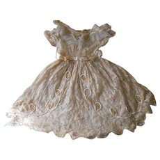 Antique Lace Wax Flowers with Paste Wedding Flower Girl Dress