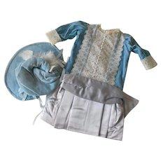 Vintage Blue Silk and Silk Velvet Large Doll Dress with Bonnet