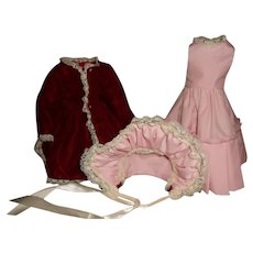 Vintage Silk Velvet Doll Coat, Pink Dress and Matching Bonnet
