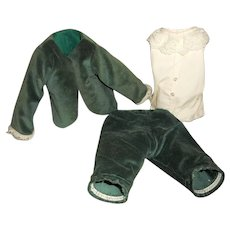 Vintage Boy Doll Velvet Outfit with Lace Under shirt