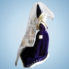 Vintage Medieval Style Silk Velvet FF Doll Costume