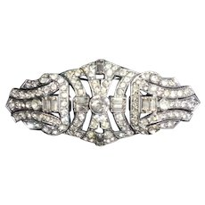 Rare Art Deco Paste Conversion Brooch with Clips