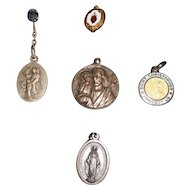 Vintage Religious Christian Medals - Sterling and Silverplate Lot