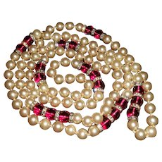 Long Glass Pearl with Pink Poured Glass Beads and Rondells Necklace