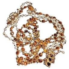 Vintage Open Back Bevel Set Amber Crystal with Pearl 5 Strand Necklace