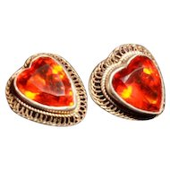 Vintage Hobe Sterling Wire work HEART Crystal Clip Earrings