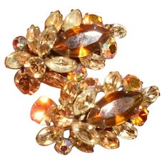 Gorgeous Vintage Layered Topaz Crystal Clip Earrings
