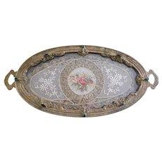 Vintage 1920s Jeweled Silvercraft Ormolu Vanity Tray with Metallic Lace Insert