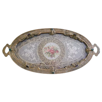 Vintage 1920s Jeweled Silvercraft Ormolu Vanity Tray with Metallic Lace Insert