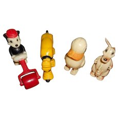 RARE Vintage Miniature Disney Character Pull Toys- Mickey, Kangaroo, Duck, Pluto