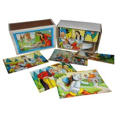 Vintage Snow White Miniature Wooden Lithograph Blocks