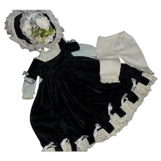 Beautiful Vintage Blue Silk Velvet Doll Ensemble - Lined Dresses, Bonnet, Hat and Pantaloons