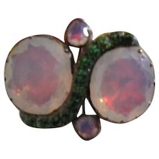 Georgian Opaline and Emerald Paste Silver brooch