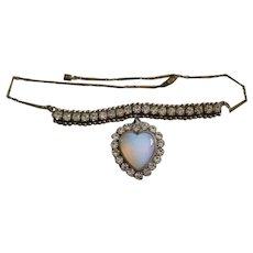 Art Deco Opaline and Paste Heart Pendant Necklace