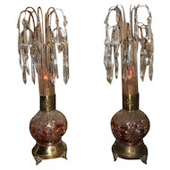 Vintage Antique Style Ruby to Clear Waterfall Crystal Pair of Lamps