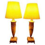 Art Deco Alabaster Pair of Lamps