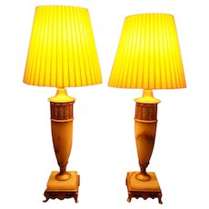 Art Deco Alabaster Pair of Lamps