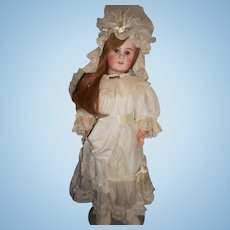 Antique Silk and Tulle Doll Dress with Tulle Bonnet