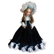 Vintage Fancy Royal Blue Silk Velvet  Doll Costume