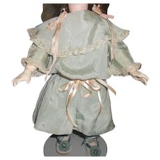 Antique Light Blue Silk Doll Dress with Drop Waist & Pink Ribbons