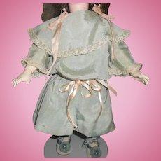 Antique Light Blue Silk Doll Dress with Drop Waist & Pink Ribbons
