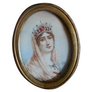 Antique Dollhouse Watercolor Painting Queen Josephine
