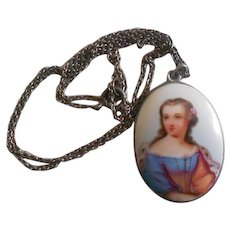 Victorian Miniature Painting of a Girl in 800 Silver w/ chain