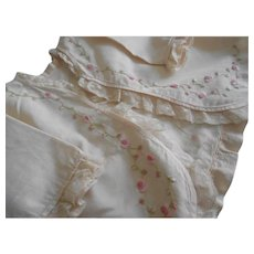 Sweet 1920s Silk Rose Embroidered Lace Baby Jacket