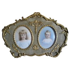 Antique French Ormolu Frame with Sentimental Mourning Miniatures of Siblings