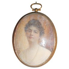 Antique 1920s Painting of a Lady
